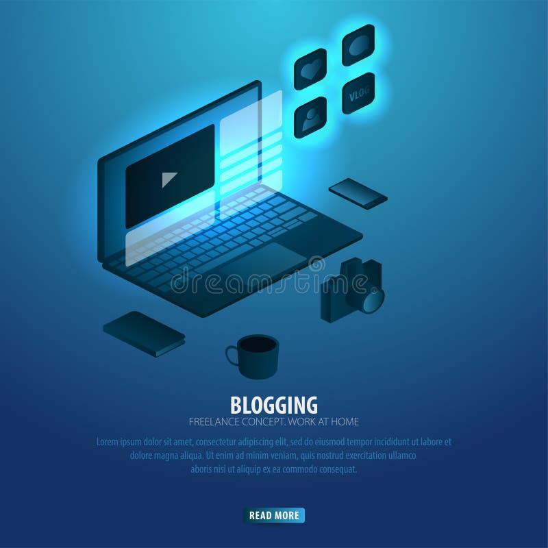 Blogging und Social Media Kann für Netz Fahne oder infographics verwenden Freiberuflich tätiges Konzept Arbeit zu Hause stock abbildung