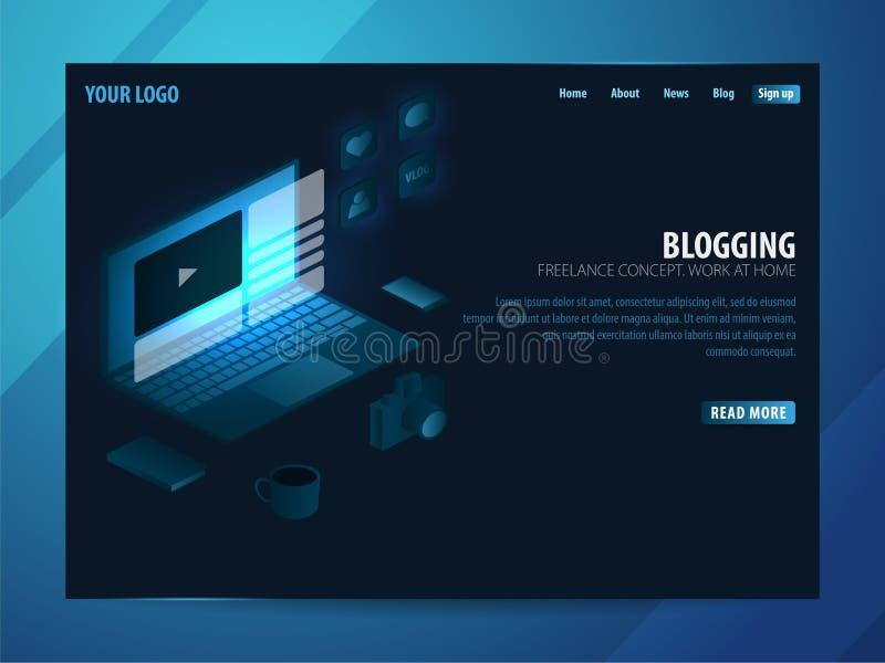 Blogging und Social Media Kann für Netz Fahne oder infographics verwenden Freiberuflich tätiges Konzept Arbeit zu Hause lizenzfreie abbildung