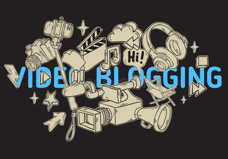 Blogging VideoDesign mit wesentlichem in Verbindung stehendem Gegenstand-Element-und Werkzeug-künstlerische Karikatur-Hand gezeic vektor abbildung