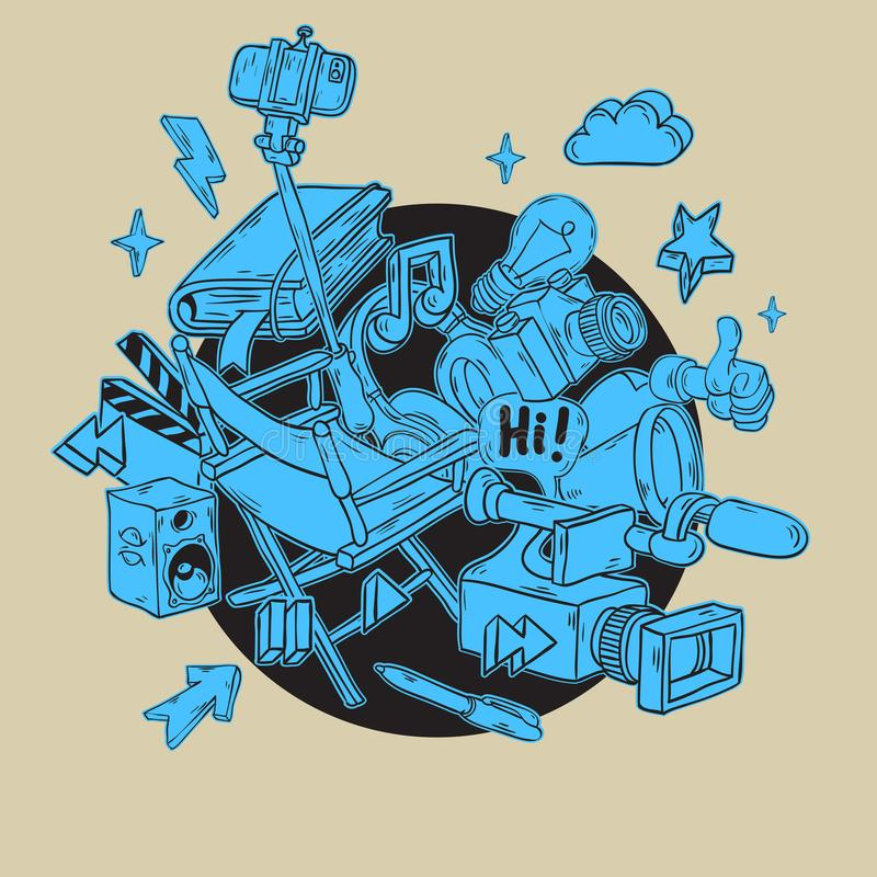 Blogging VideoDesign mit wesentlichem in Verbindung stehendem Gegenstand-Element-und Werkzeug-künstlerische Karikatur-Hand gezeic lizenzfreie abbildung