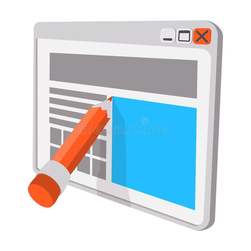 Writing for website cartoon icon stock illustration