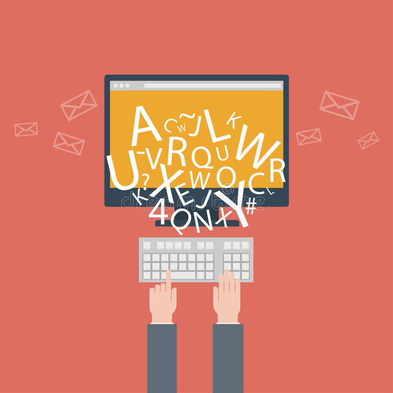 Download Blogging And Writing For Website, Email. Vector Illustration, Flat Design Style With Trendy Icons Stock Vector - Illustration of letters, internet: 39815128
