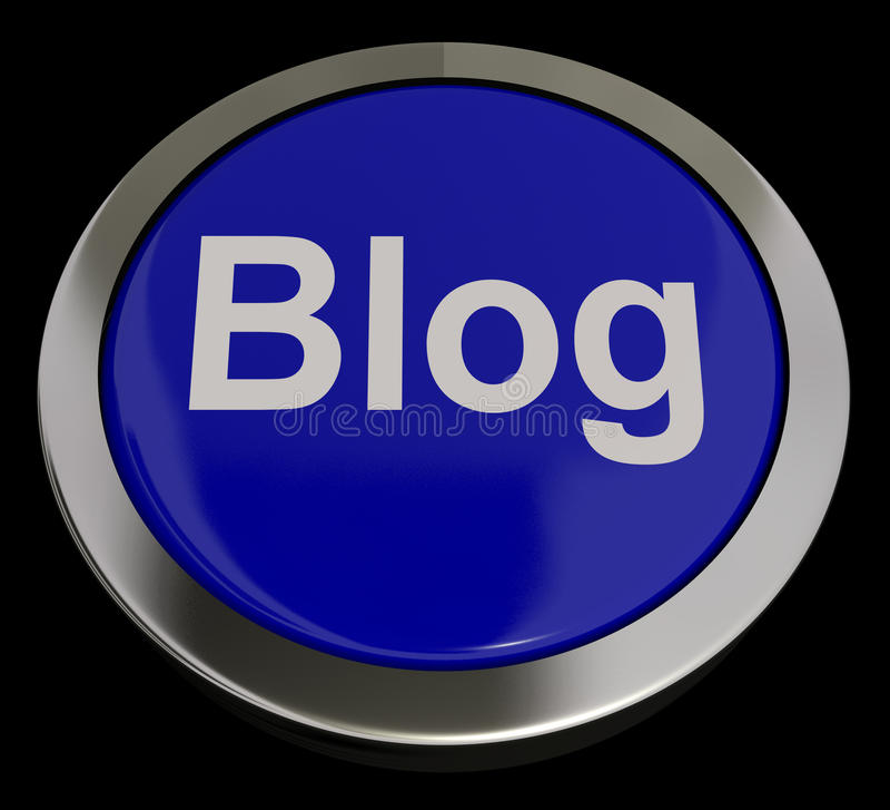 Bloggknapp i blått för Blogger eller Blogging Website vektor illustrationer