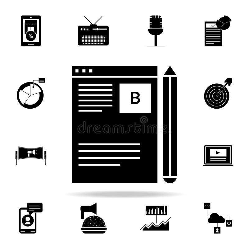 Bloggledningsymbol Universell uppsättning för Digital marknadsföringssymboler för rengöringsduk och mobil royaltyfri illustrationer