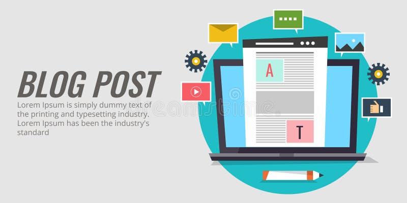 Bloggstolpe, nöjd publikation, kommunikation med gemenskap, digitalt marknadsföringsbegrepp Blogging vektorbaner för plan design vektor illustrationer