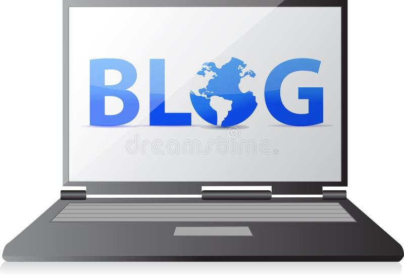 Bloggtext på en bärbar datorskärm stock illustrationer