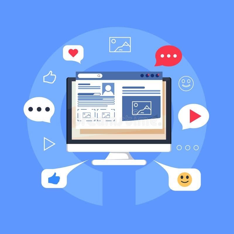 Bloginhalt, Blogging, Beitrag, flache Vektorillustration der zufriedenen Strategie lokalisiert auf blauem Hintergrund stock abbildung