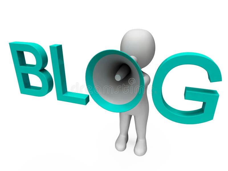 Blogu Hailer przedstawienia Blogging Lub Weblog Internetowy miejsce royalty ilustracja