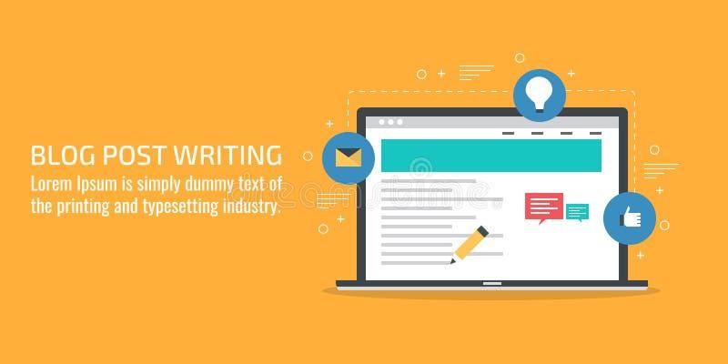 Blogu writing, poczta, zawartość, strategia rozwoju pojęcie Płaski projekta wektoru sztandar ilustracji
