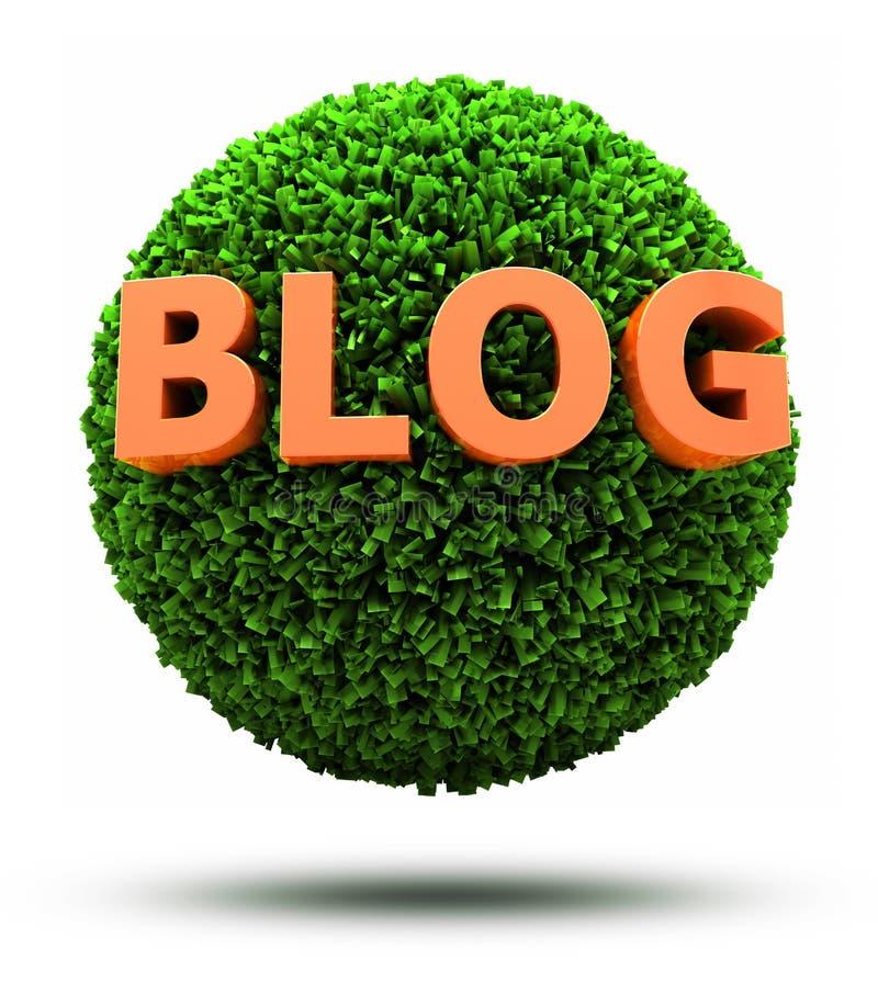 blogue 3D na esfera gramínea ilustração stock