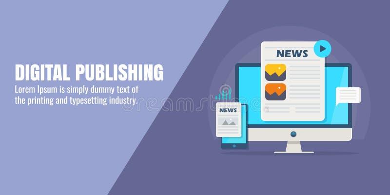 Blogue, compartimento em linha, mercado satisfeito, promoção do artigo, publicação digital, índice do anúncio, meio digital, conc ilustração royalty free