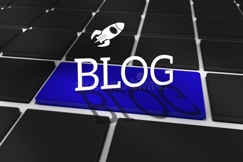 Blogue contra o teclado preto com chave azul ilustração do vetor