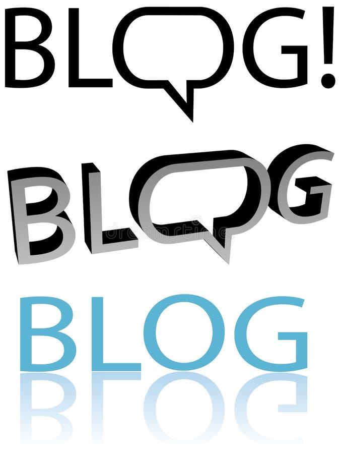 BLOGUE! Copyspace do balão da bolha do discurso do Blogger ilustração do vetor