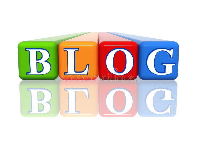 Blogue - cubos da cor com reflexão ilustração royalty free