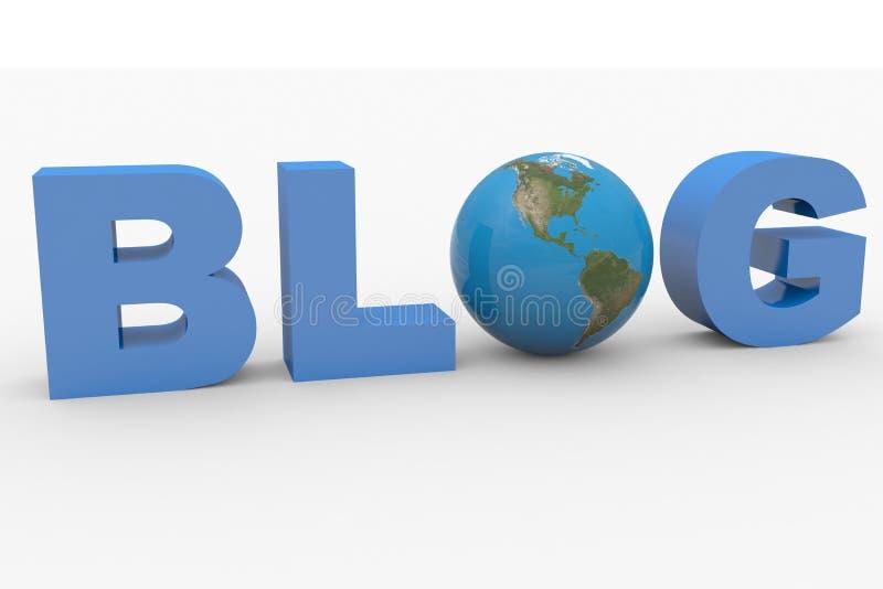 blogue da palavra 3D com a esfera da terra que substitui a letra O ilustração do vetor