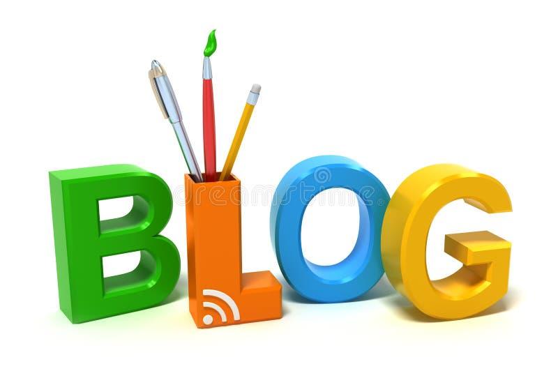 Blogue da palavra com letras coloridas ilustração do vetor