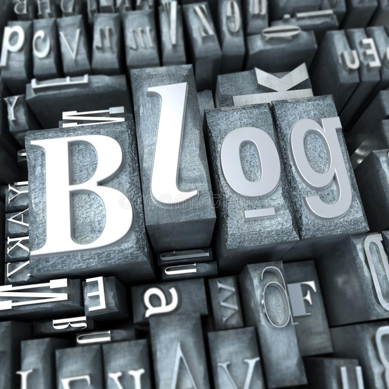 Blogue em letras do texto dactilografado ilustração do vetor
