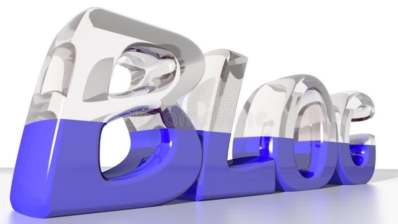 Blogue, meio vidro e meio azul ilustração stock