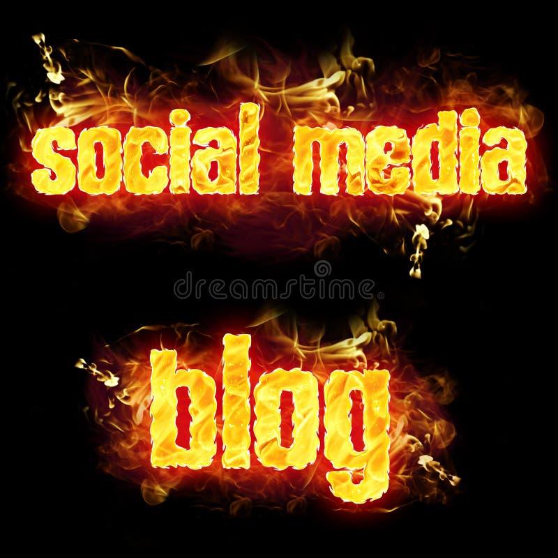 Blogue social dos meios do fogo ilustração do vetor