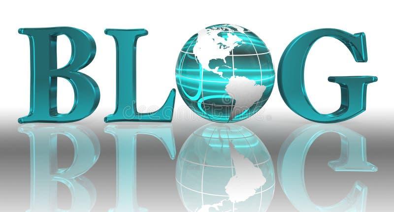 Blogwort und blaue Erdekugel