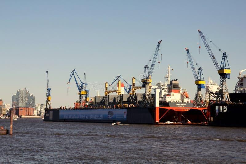 Blohm+Voss Shipyard with floating dock 10 royalty free stock photo