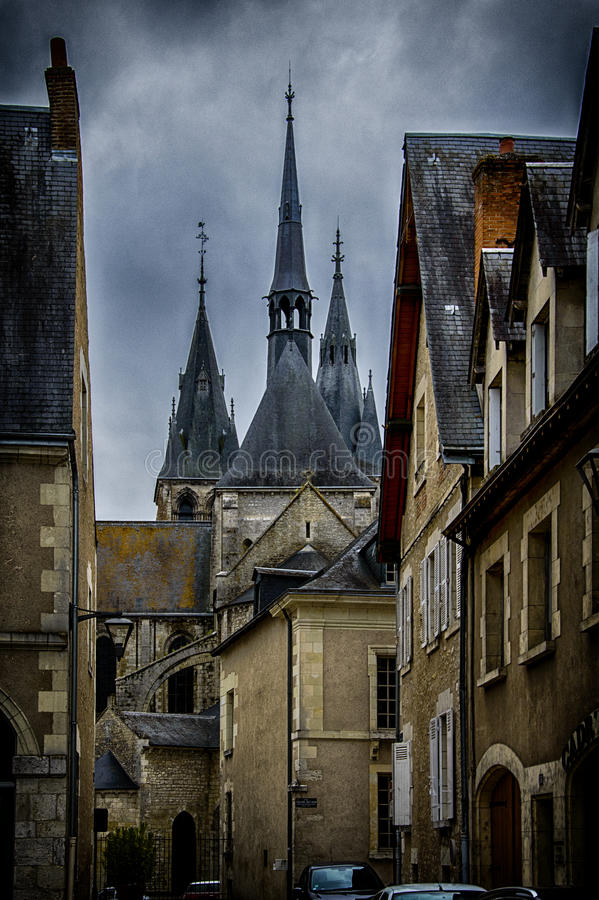 Blois,France. Blois, France. The Blois Cathedral,surrounding by old houses royalty free stock images