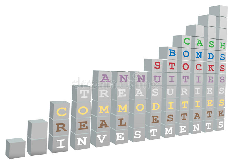 bloków więzi mapy wzrostowi inwestorscy zapasy ilustracja wektor
