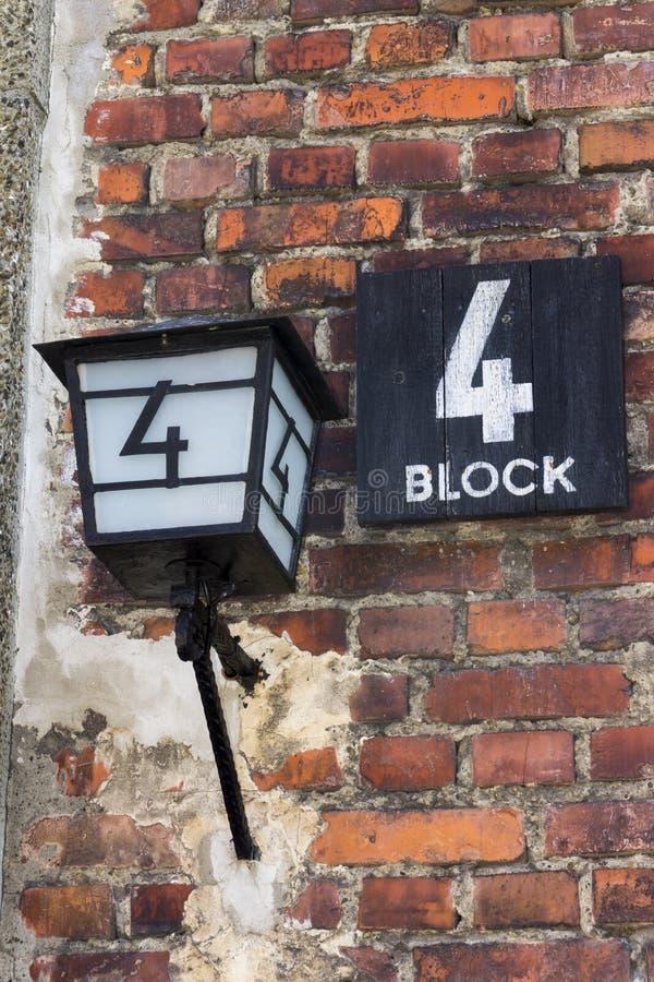 Blok 4, één van cellblocks bij het Auschwitz-Concentratiekamp royalty-vrije stock foto's