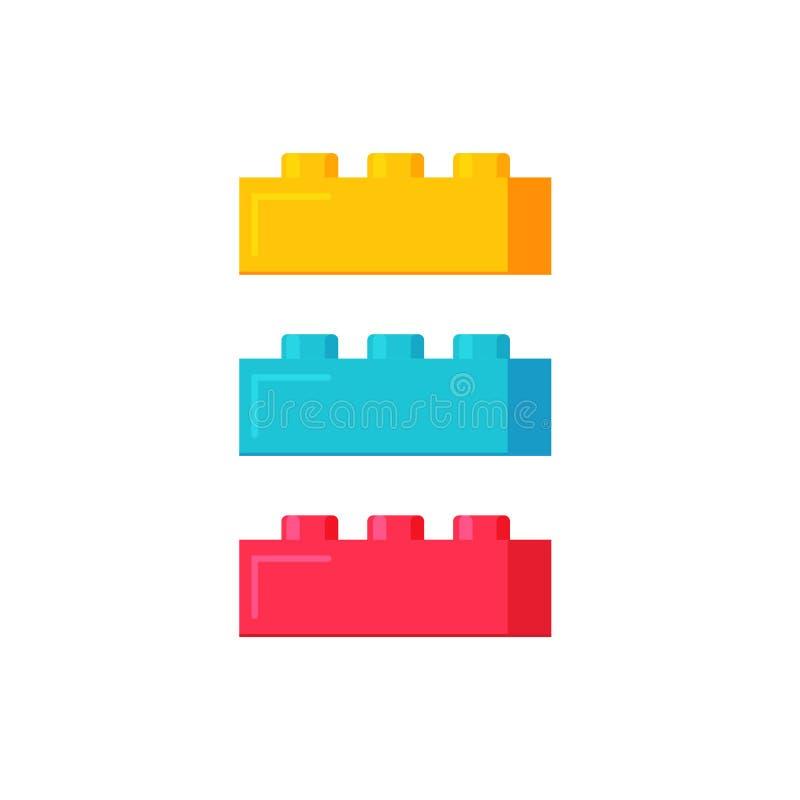 Blok budowa bawi się wektorową ilustrację, płaskiej kreskówki koloru plastikowych elementy lub cegły zabawkę odizolowywających, royalty ilustracja