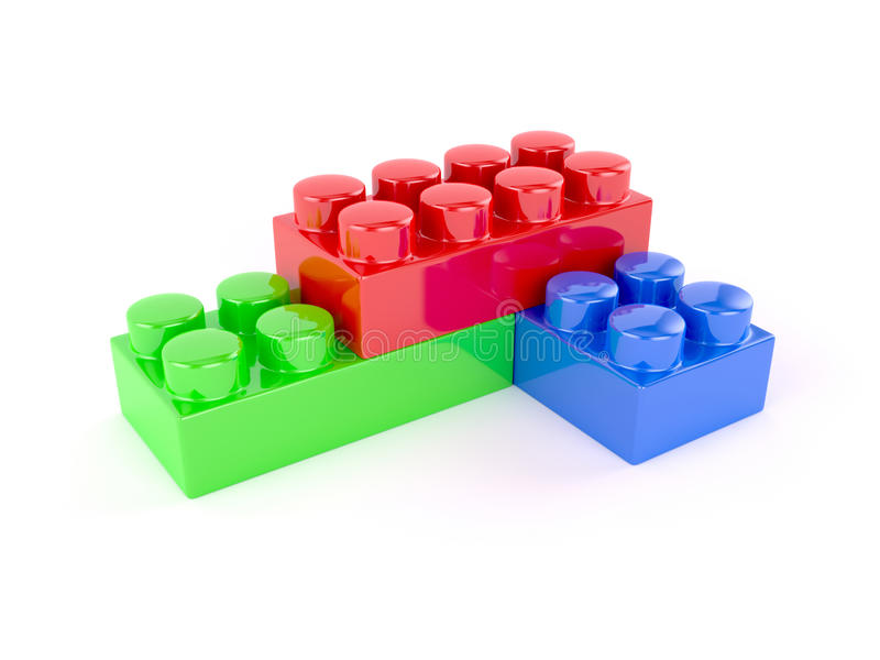 blok cegły ostrzą ostrość odizolowywającą blisko plastikowego selekcyjnego zabawkarskiego biel ilustracja wektor