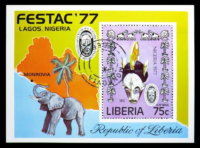 Blok: Ibomasker en Olifanten, het 2de Wereld Zwarte en Afrikaanse Festival van Kunsten en Cultuur serie, circa 1977 stock foto's