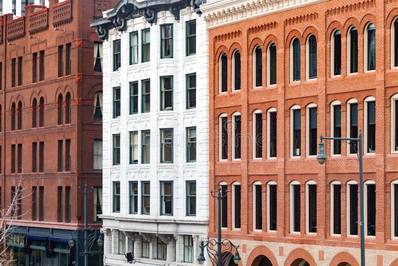 Blok van historische gebouwen in Denver van de binnenstad, Colorado royalty-vrije stock fotografie