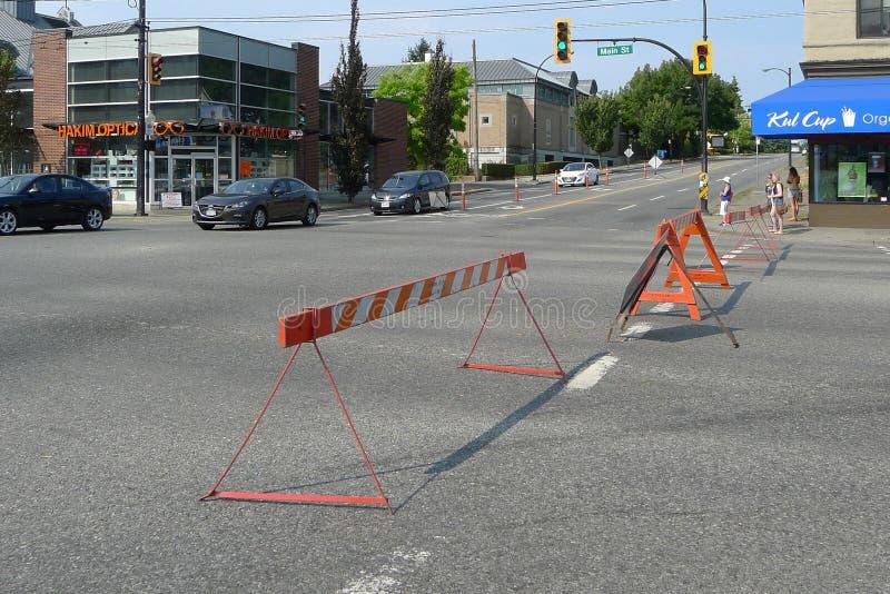 Blokada drogi dla Vancouver społeczności festiwalu zdjęcia royalty free