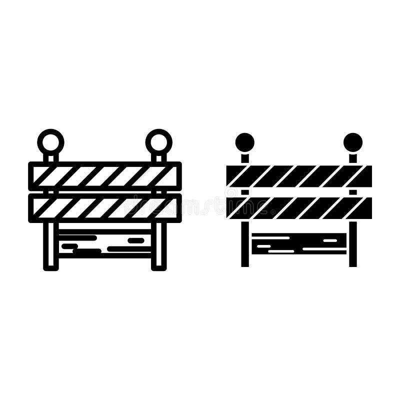 Blokada drogi linia i glif ikona Bariery wektorowa ilustracja odizolowywająca na bielu Rubieżny konturu stylu projekt, projektują royalty ilustracja