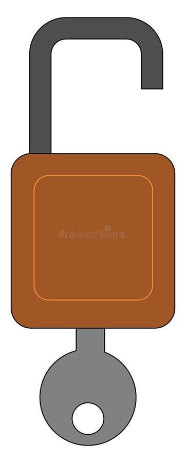 Blokada koloru brązowego z szarym kluczem koloru, pętlą czarną, ilustracją wektorową lub kolorową ilustracja wektor