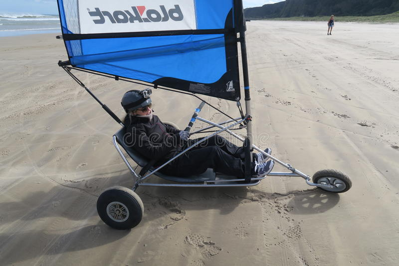 Blokart. A small cart with a sail that you can steer along the beach on three wheels. blokart has developed into a culture with an international community of royalty free stock photos