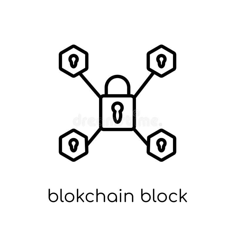 blokchain Blockikone Modisches modernes flaches lineares Vektor blokchain lizenzfreie abbildung