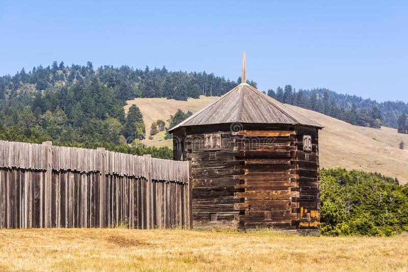 Blokhuis bij Fort Ross State Historic Park royalty-vrije stock foto