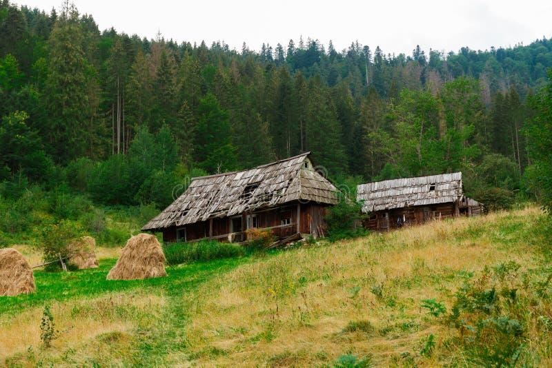 Blokhuis in bos, wildernis De oude traditionele bouw stock fotografie