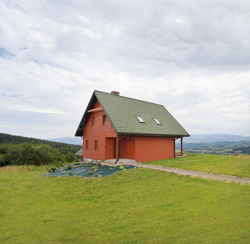 Blokhuis in de Bergen royalty-vrije stock foto