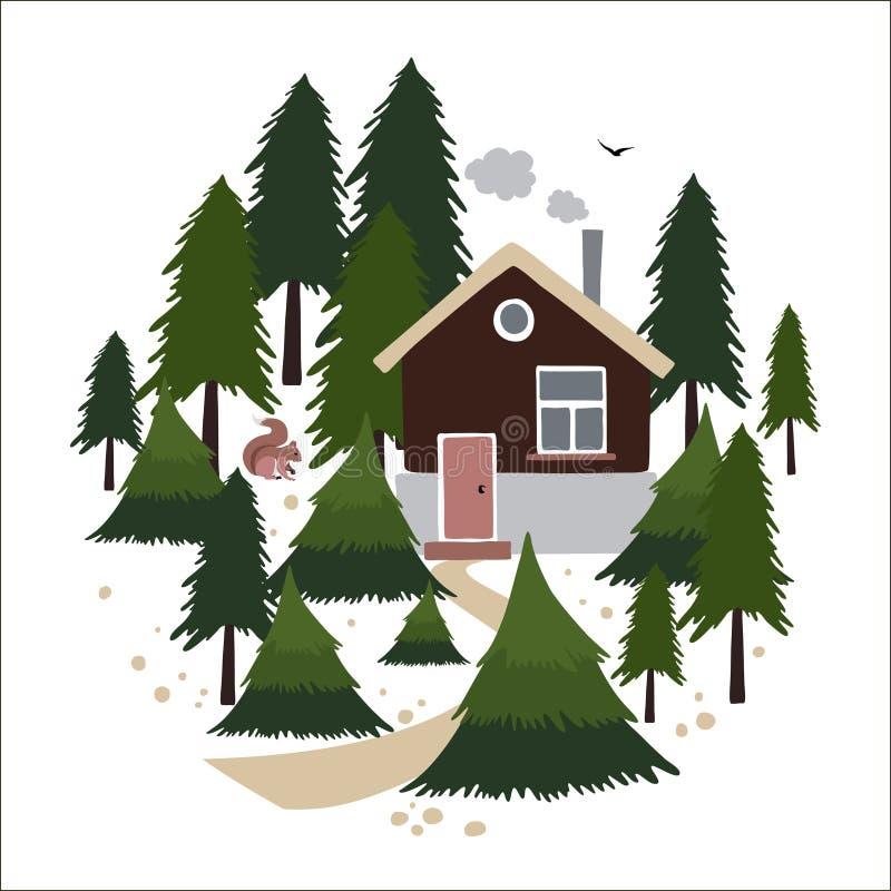 Blokhuis in het naaldbos vector illustratie