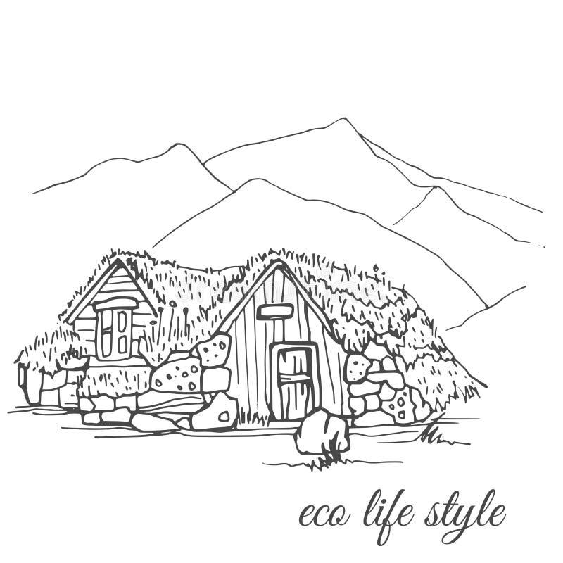 Blokhuis met gras op het dak op de achtergrond van de bergen in de stijl van de schets stock illustratie