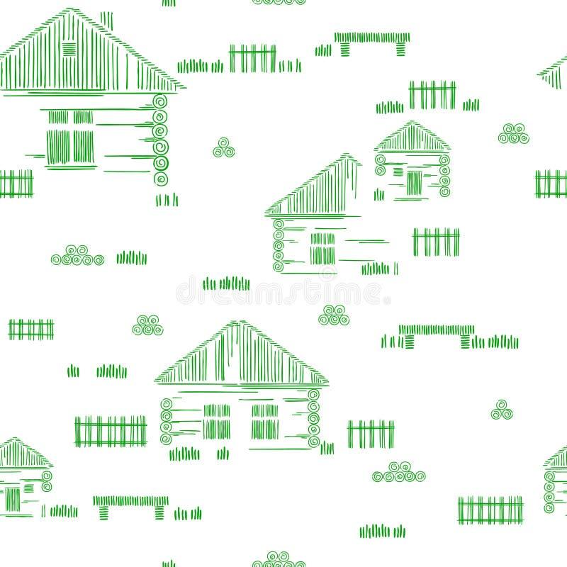 Blokhuizen bij de kust, Panhandle, Florida, de V Dorpsstraat Gestileerde vectorhandtekening Naadloos patroon stock illustratie