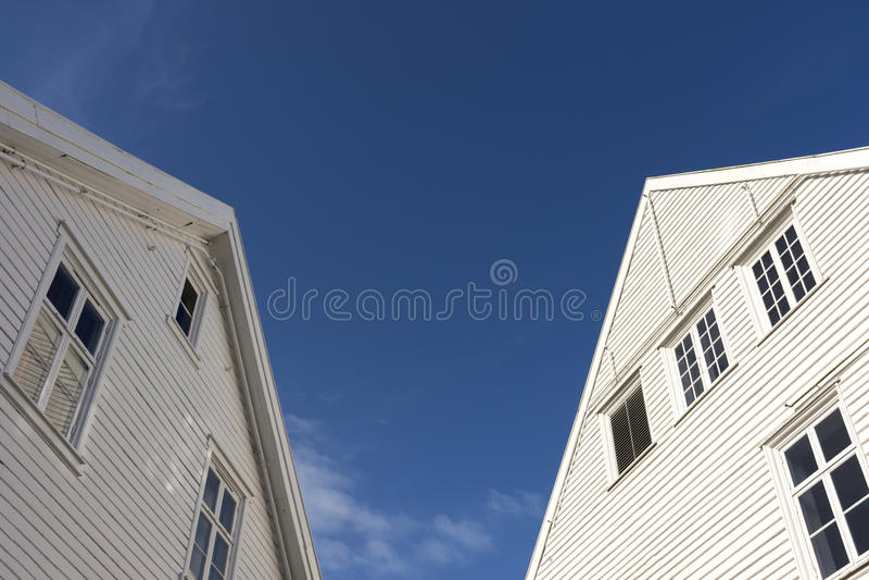 Blokhuizen in Mandal stock foto