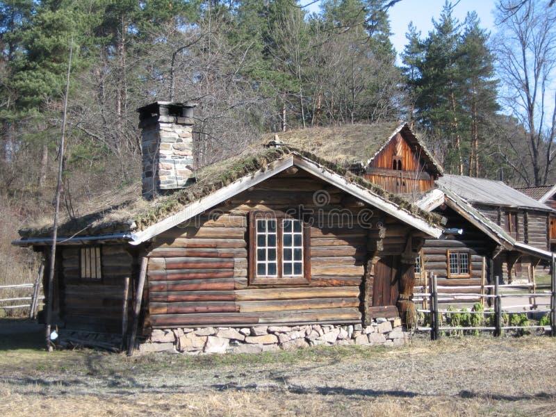 Blokhuizen in Noorwegen stock foto