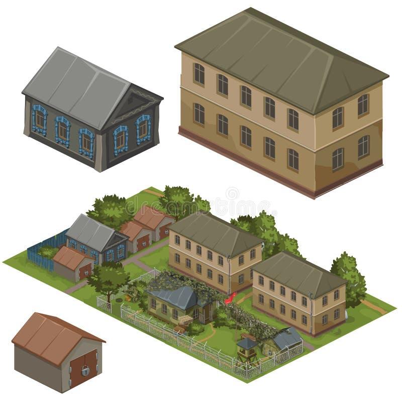 Blokhuizen op groene straat, vectorstad stock illustratie