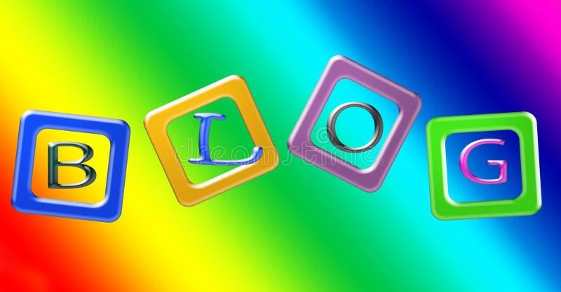 Bloki kolor przeciw wibrującemu tęczy tłu Listy literują słowo blog royalty ilustracja