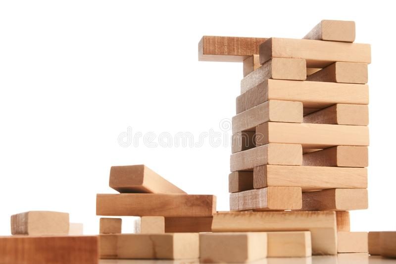 Bloki odizolowywający na bielu drewno obrazy royalty free