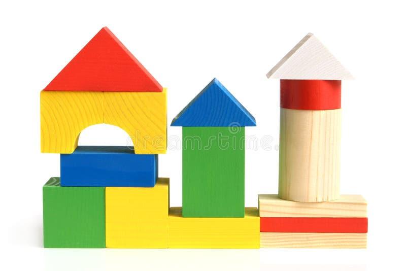 bloki target1726_1_ dziecko dom zrobili s drewniany obrazy stock