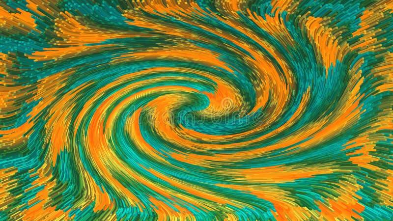 Bloki z 3d skutkiem zieleń i pomarańczowi kolory tworzy abstrakcjonistycznego zawijas ilustracji